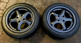 2 x AEZ P15 GUNMETAL GREY ALLOY WHEELS & GOOD TYRES - 4x100, ET 35, mx5, BMW Drift Track Race