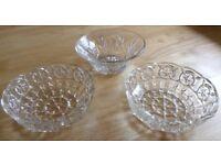 3 Glass Bowls Vintage 1940/50/60/70's