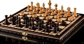 OLYMPIC CHERRY CHESS & DRAUGHTS - 35cm / 14in Handcrafted Wooden Chess Set with Checkers