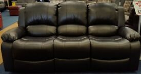 Black 3 seater recliner sofa in bonded leather