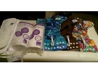 3 x Fuzzi Bunz one size Elite reusable nappies, inserts, liners and extra elastic