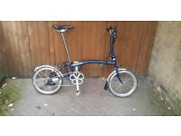 Immaculate condition blue brompton 2016 model 6 speed