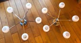 2 x John Lewis 5 Arm Globe Ceiling Light