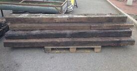 Reclaimed wooden timber railway sleeper