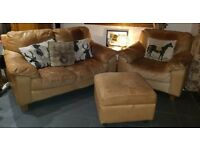 2 seater tan leather sofa, arm chair and footstool for sale