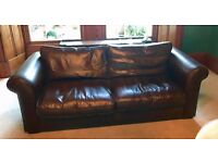 REDUCED - Laura Ashley Large 3-Seater Leather Sofa - Medium Brown - LIKE NEW!