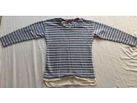 Joules ladies striped blue/white top, size 6