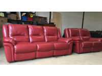 3+2 dark red leather recliners VGC DELIVERY AVAILABLE