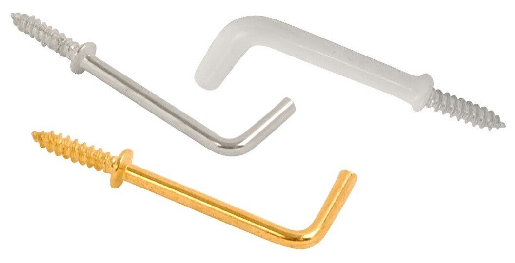 White Plastic Coated 6 Hooks Shouldered 19mm Fort Fasteners/® Cup Hooks 3//4 Inch