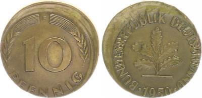 BRD 10 Pfennig 1950 F Fehlprägung: 10% dezentriert vz, Druckstelle