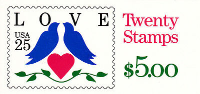 U.S. COMMEM BOOKLET OF 20 SCOTT#BK169 1990 25ct LOVE BIRDS P#1211 AT FACE