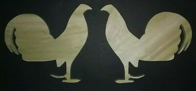 Hand Made Wooden Gamefowl Silhouettes Hatching Eggs Rooster Chicken Farm