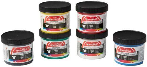 6 Pack Fabric Screenprinting Ink Set, Black, Green, White, Blue, Yellow