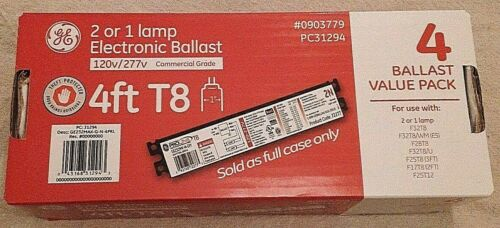 """GE ELECTRONIC BALLAST """"4"""" PACK 1 OR 2 LAMP Replacement 120v/277v 4ft T8 pc31294"""