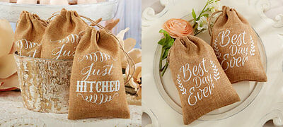 Set of 12 Just Hitched or Best Day Ever Burlap Bags Wedding