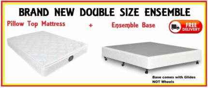 BRAND NEW Double Size Bed Ensemble - Pillow Top Mattress + Base