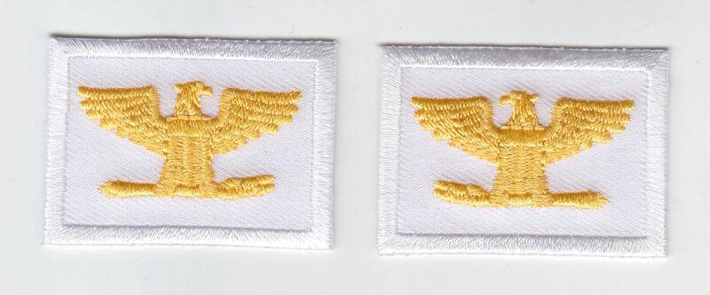 "COL Colonel Eagles/Birds GOLD/WHITE rank insignia collar/lapel patches 1.75"""