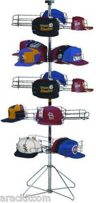 Floor Sport Cap Rotating Display Rack - 5 Tier Holds 240 Caps Silver