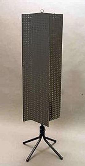 "Floor Pegboard Spinner Display Rack - 4 Sided 1/4"" Peg Board 1"" OC (Black)"