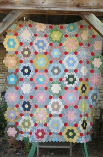 Antique Primitive Quilt Top Honeycomb French Bouquet Mosaic Flower Americana Art
