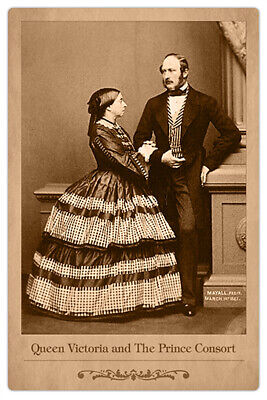 QUEEN VICTORIA & PRINCE ALBERT 1861 John J. E. Mayall Photograph Cabinet Card RP