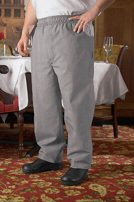 CHEF DESIGNS Baggy Chef Pant with Zipper Fly Indigo Check Stripe size S,2XL,3XL