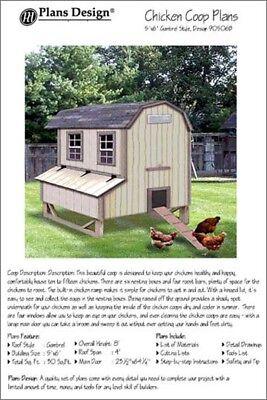 5 X 6 Chicken Coop Hen House Plans Gambrel Barn Roof Style 90406b