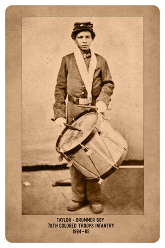 AFRICAN AMERICAN DRUMMER BOY CIVIL WAR UNION VINTAGE RP Cabinet Card PHOTOGRAPH