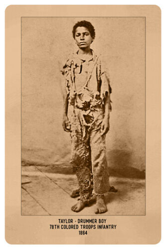 AFRICAN AMERICAN DRUMMER BOY 2 CIVIL WAR UNION VINTAGE RP Cabinet Card PHOTO