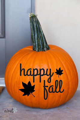 Happy Fall With Leaves Halloween Fall Autumn Decor Pumpkin Decal Vinyl Sticker - Pumpkin With Leaves