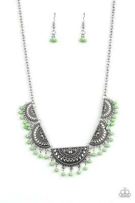 Paparazzi Boho Baby - Green - Half Moon Silver Necklace and matching Earrings Silver Half Moon Necklace