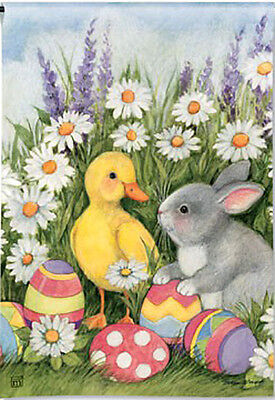 Garden Flag, Easter Babies, Bunny, Chick, Eggs, and (Easter Eggs Garden Flag)