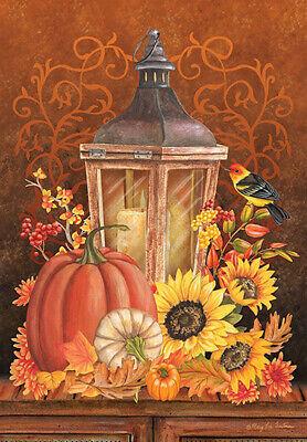 Garden Flag, Autumn, Fall Lantern, Pumpkin, -