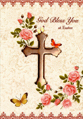 Cross, Pink Flowers and Butterflies - Designer Greetings Religious Easter Card (Religious Easter Cards)
