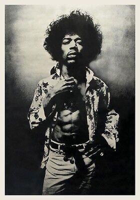 Jimi Hendrix POSTER **AMAZING IMAGE** Large B&W Sexy Pic