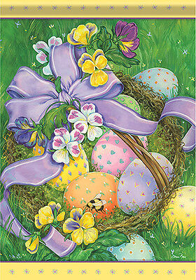 Garden Flag, Easter Basket, Eggs, Ribbon, Flowers