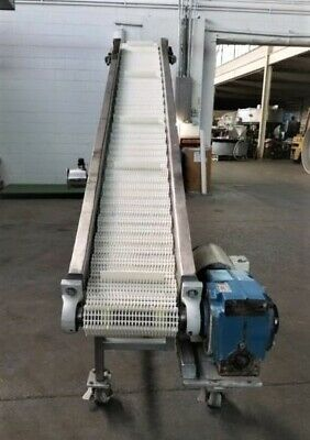 10 Inch X 102 Inch Stainless Steel Sanitary Incline Cleated Belt Conveyor