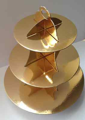 3 Tier Cupcake Stand Cardboard Gold Wedding Party Cake Cookie Shiny Plate  - Cardboard Cake Stand
