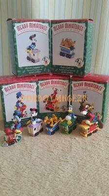 Hallmark Merry Miniatures 1998 Mickey Express Disney Train Mouse Pluto Set SV