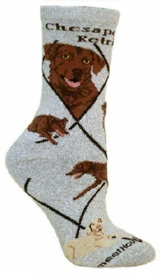 Adult Size Medium CHESAPEAKE BAY RETRIEVER Adult Socks/Grey Made in USA
