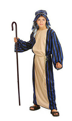 Kids Shepherd Costume & Staff Nativity Christmas Joseph Boys Fancy Dress 4-8