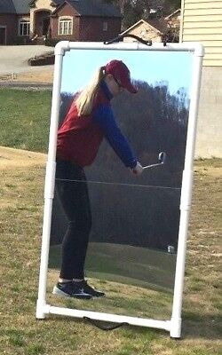 Golf Swing Training Aid 2'x4' Mirror Folds for Easy Transport--Writeable surface