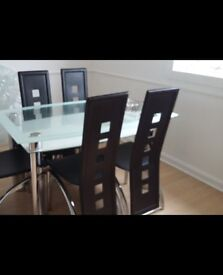 Glass Chrome Dining Table Black Chairs