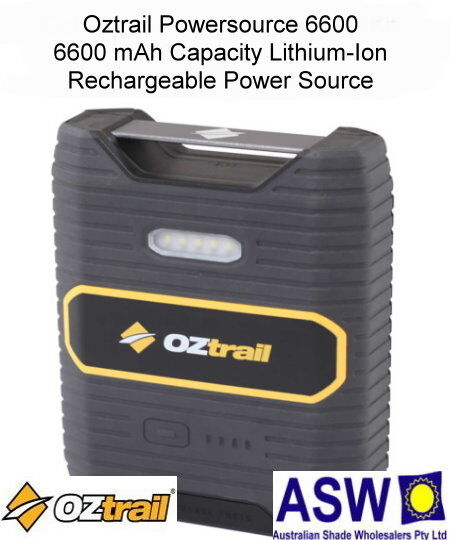 Oztrail POWERSOURCE 6600 Portable Power for Lights Recharge Tablets GCK-PS6600-A