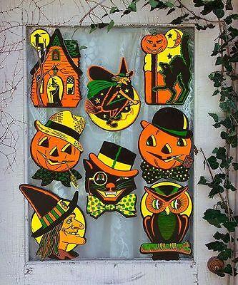Halloween Cutouts (8 Vintage RETRO Styled BEISTLE Repro HALLOWEEN DECORATIONS Die-cut)