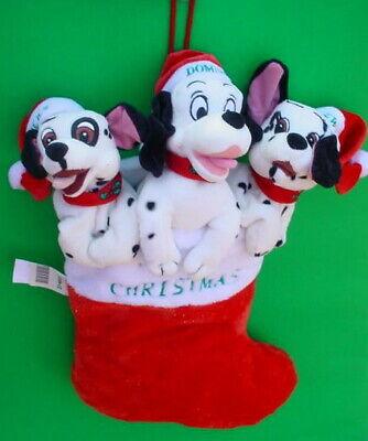 Disney 101 Dalmatians Merry Christmas stocking plush Dog Head Santa Hat Lucky +