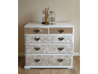 Vintage Upcycled Shabby Chic Distressed Chest of Drawers - White/Natural