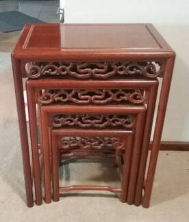 Nest tables chinese in perth region wa furniture gumtree chinese carved set of 4 rosewood nest of tables watchthetrailerfo