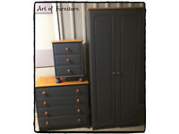 Pine Bedroom Furniture Set Wardrobe Chest of Drawers Bedside Table Hand Painted in Mineral Paint