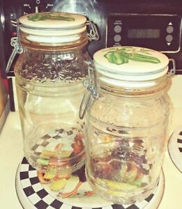 Garden Motif Glass Storage Jars